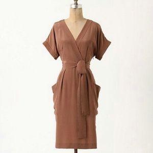 Anthro Maeve Corliss 100% Silk Faux Wrap Dress